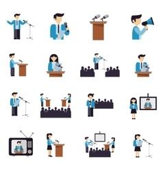 Public speaking icons flat vector