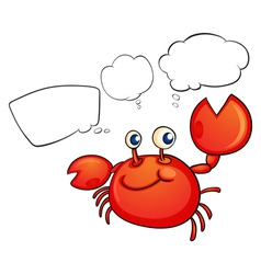 A red crab thinking vector