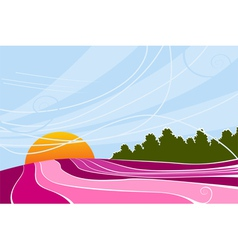Rising sun and lavender fields vector