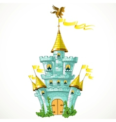 Magical fairytale blue castle with flags and green vector