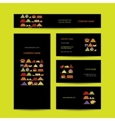 Business cards design shelves with fruits vector