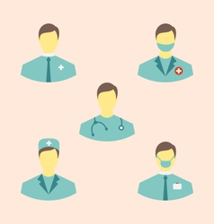 Icons set of medical employees in modern flat vector