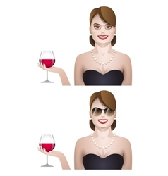 Elegance cute young woman with glass of wine vector