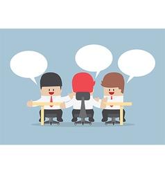 Group of businessmen brainstorming together vector
