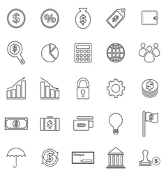 Finance line icons on white background vector
