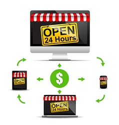 Shop open 24 hours on pc notebook laptop taplet vector