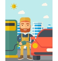 Gasoline boy filling up fuel vector