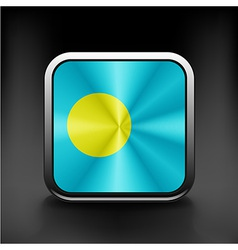 Square icon with flag of palau with reflection vector