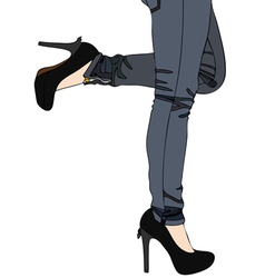 Jeans and sexy high heels vector