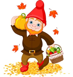 Garden gnome with harvest vector