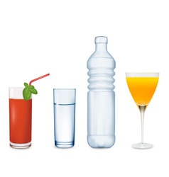 Two glasses of juice and water vector
