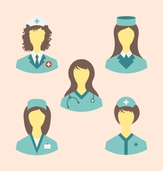 Icons set of medical nurses in modern flat design vector