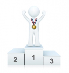 3d person on winning podium vector
