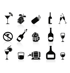 Black drinks and beverages icons vector
