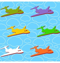 Seamless background with airplanes vector