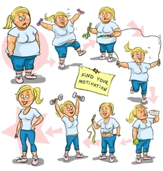 Woman achieving her weight-loss goal vector
