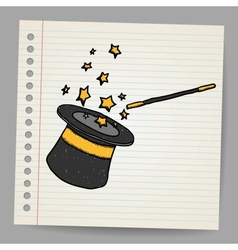 Magic hat with magic wand sketch vector