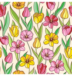 Seamless pattern with red and yellow tulips vector