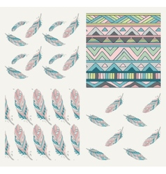 Set of drawn patterns with tribal feathers vector