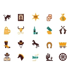 Large set of western flat icons vector