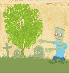 Zombie coming out of his grave vector