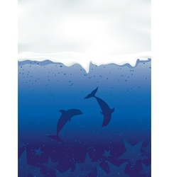 Underwater with dancing dolphins and stars vector