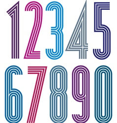 Geometric bright simple striped numbers vector