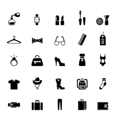 Assortment of black clothing and accessory icons vector