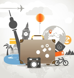 Vacation travelling composition concept with old b vector