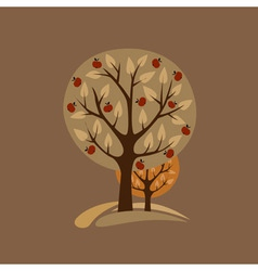 Greeting card with apple-trees vector