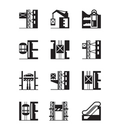 Lifts and elevators icon set vector