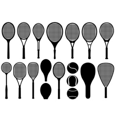 Set of different tennis rackets vector
