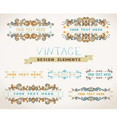 Set of vintage page decorations for text with vector