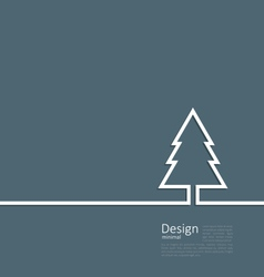 Laconic design of xmas tree fir on cleaness line vector