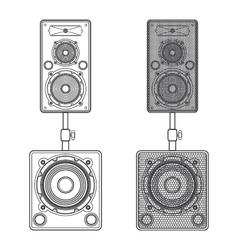 Dark contour loudspeakers on subwoofers technical vector