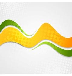 Abstract orange green waves grunge background vector