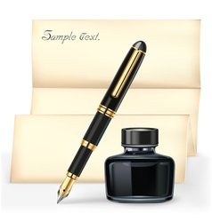 Black fountain pen and the ink bottle vector