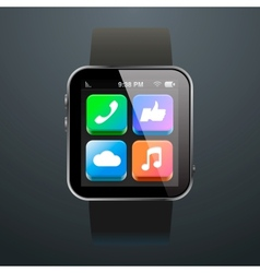 Modern watch with app icons vector