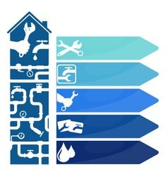 Repair of plumbing and plumbing symbol vector