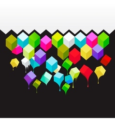 Flying colored 3d cubes abstract background vector