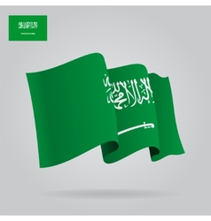 Flat and waving saudi arabia flag vector