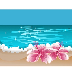 Paradise background with hibiscus and sweet ocean vector