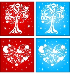 Lovely tree and heart background vector