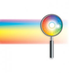 Rainbow under magnifying glass vector