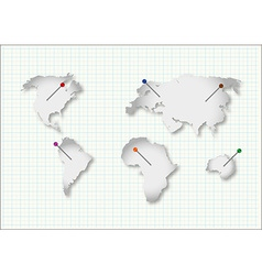 Cut continents vector