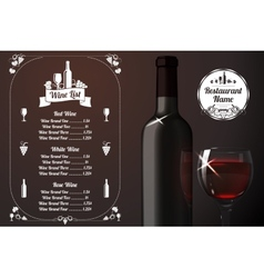 Menu template - for alcohol with realistic red vector