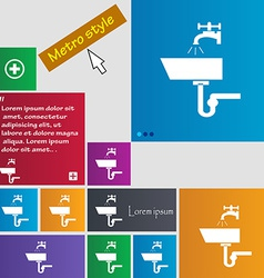Washbasin icon sign metro style buttons modern vector