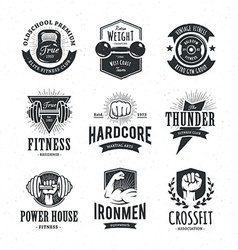 Retro fitness emblems vector