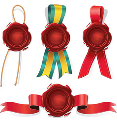 Set of red wax seals with ribbon and rope vector