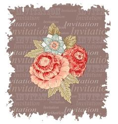 Vintage flowers invitation vector